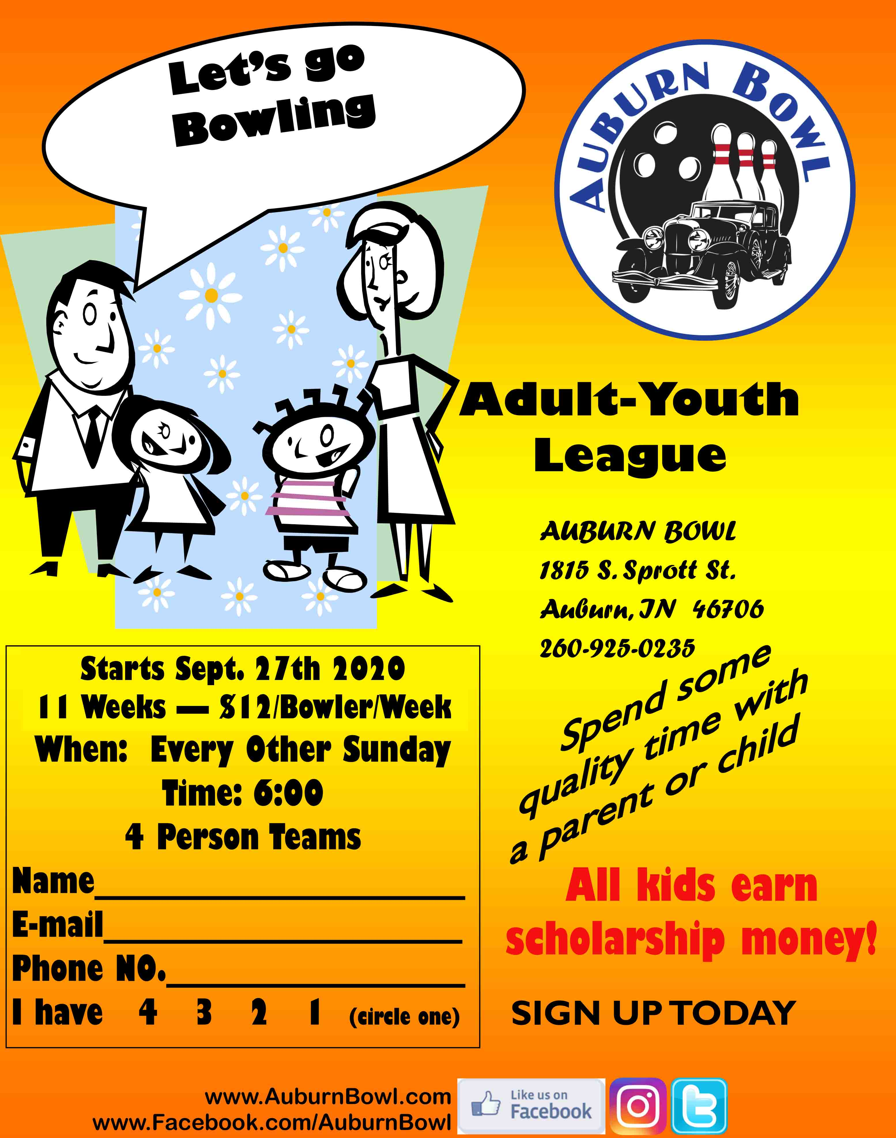 Adult Youth League Starts September 27th