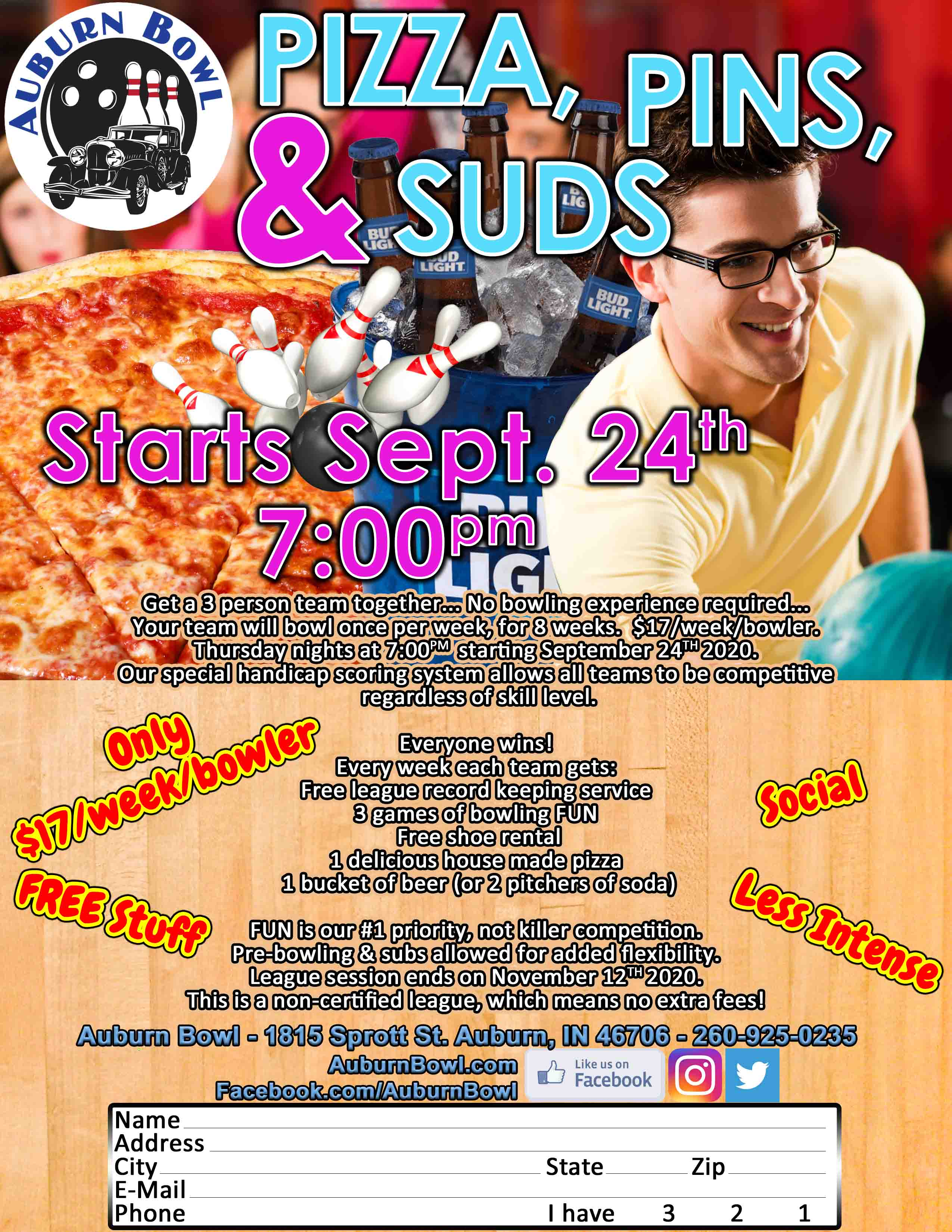 Pizza Pins and Suds League Starts September 24th